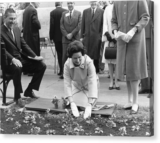 Lyndon Johnson Canvas Print - Lady Bird Johnson Planting by Underwood Archives