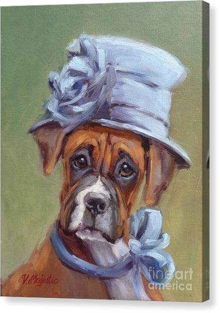 Lady Boxer With Blue Hat Canvas Print
