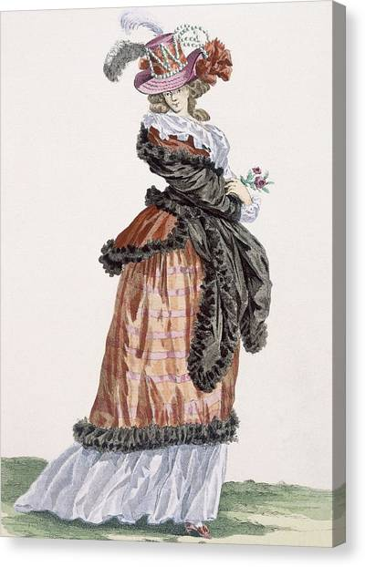 Fashion Plate Canvas Print - Lady Enjoying The Air On The Champs by Francois Louis Joseph Watteau