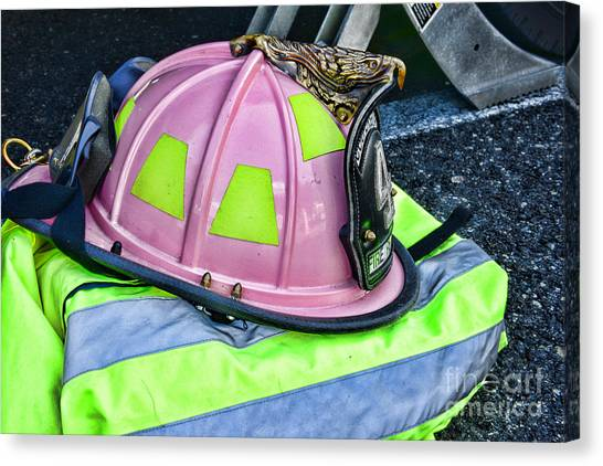 Volunteer Firefighter Canvas Print - Lady Firefighter by Paul Ward