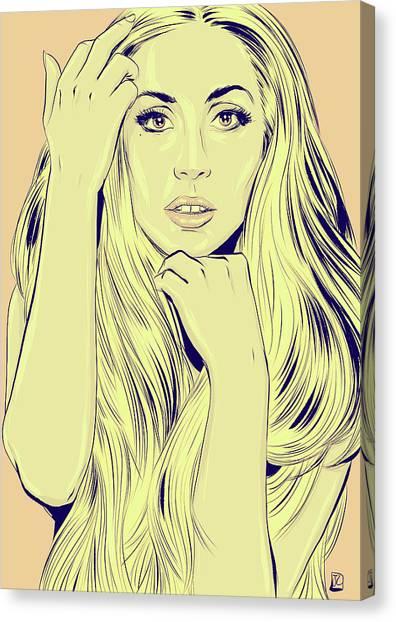 Yellow Canvas Print - Lady Gaga by Giuseppe Cristiano