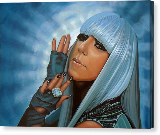 Lady Canvas Print - Lady Gaga Painting by Paul Meijering