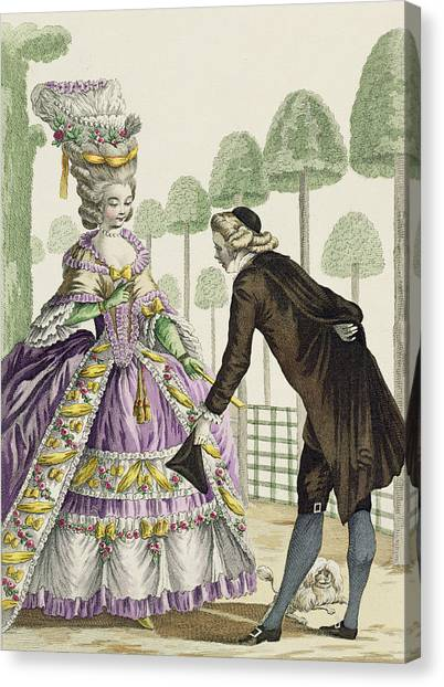 Fashion Plate Canvas Print - Lady In A Lilac Dress Promenades by Pierre Thomas Le Clerc