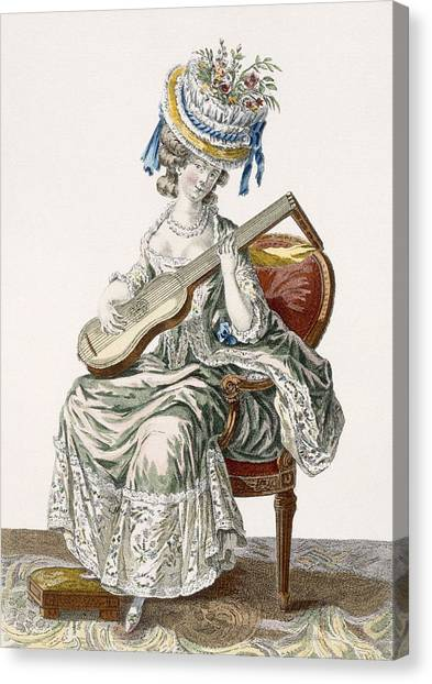 Fashion Plate Canvas Print - Lady In A Shot Taffeta Dress Trimmed by Pierre Thomas Le Clerc