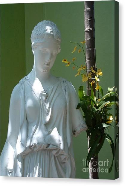 Lady In Garden Canvas Print