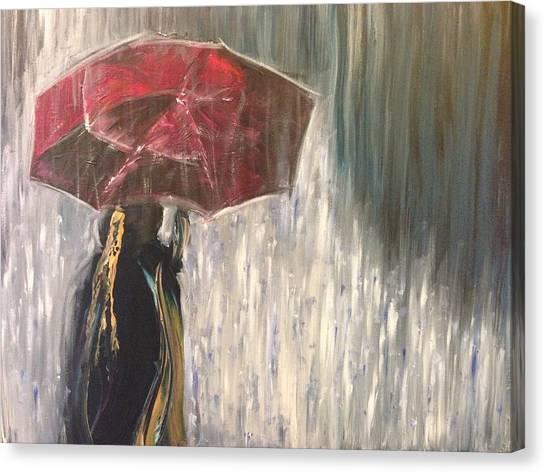 Lady In Rain Canvas Print