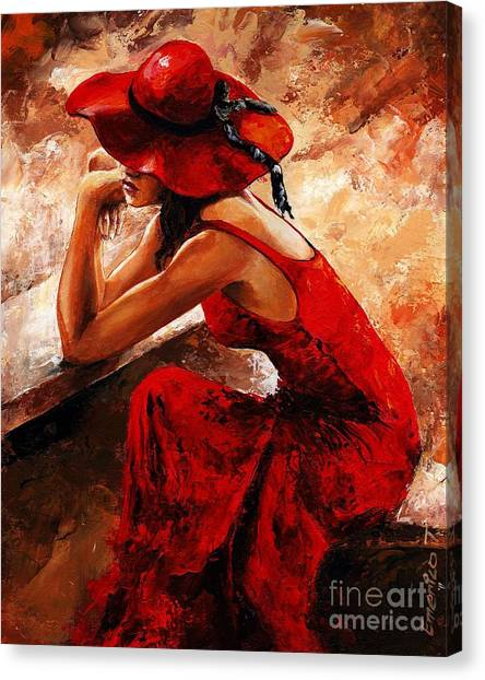 Lady In Red 21 Canvas Print