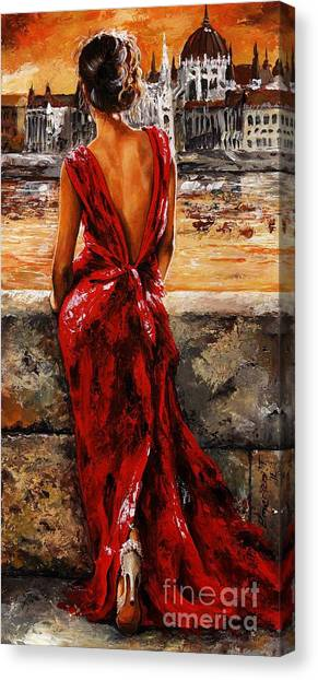 Back Canvas Print - Lady In Red  34 -  I Love Budapest by Emerico Imre Toth