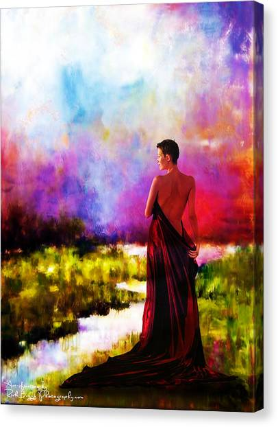 Lady In Red Canvas Print by Rick Buggy