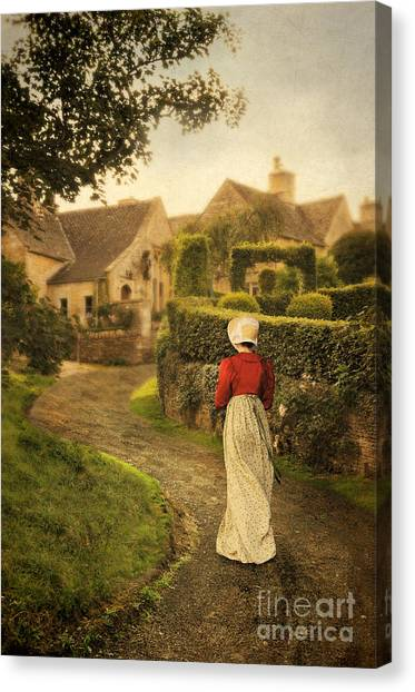 Charming Cottage Canvas Print - Lady In Regency Dress Walking by Jill Battaglia