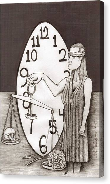Lady Justice And The Handless Clock Canvas Print
