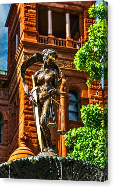 Lady Justice Fountain Canvas Print by Greg Sharpe