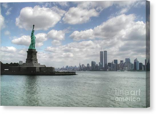 Lady Liberty And New York Twin Towers Canvas Print