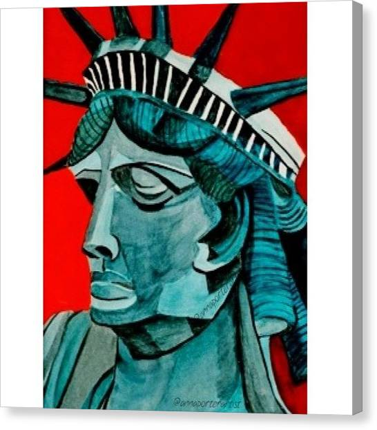 Statue Of Liberty Canvas Print - Lady Liberty - Original Mixed Media Painting by Anna Porter