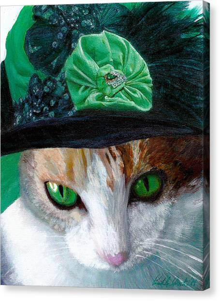 Lady Little Girl Cats In Hats Canvas Print