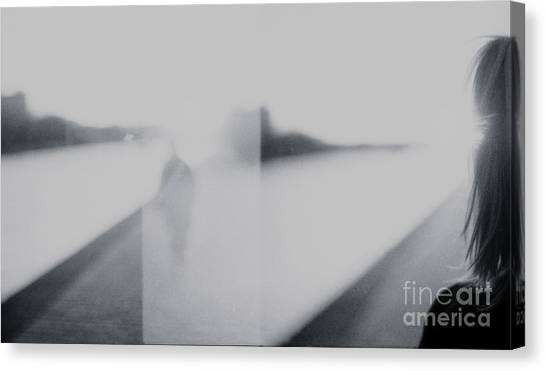 Lady Looking At Man Analog 35mm Black And White Lomo Film Photo Canvas Print by Edward Olive