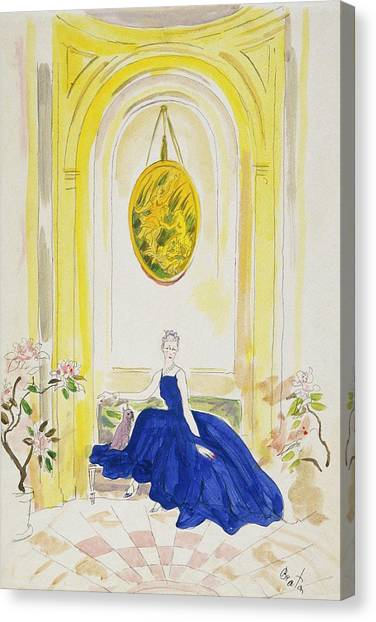 Lady Mendl Wearing A Blue Dress Canvas Print