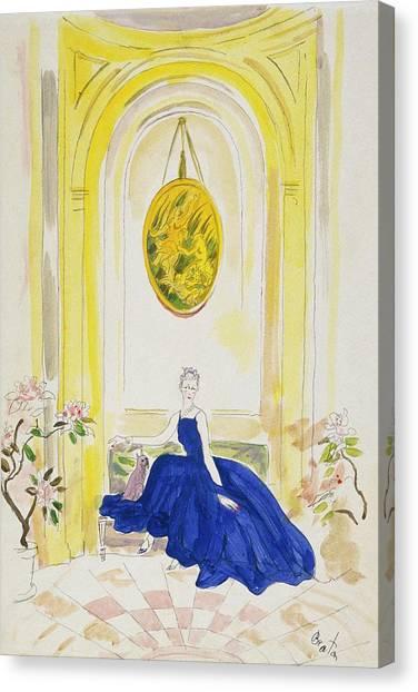 Lady Mendl Wearing A Blue Dress Canvas Print by Cecil Beaton