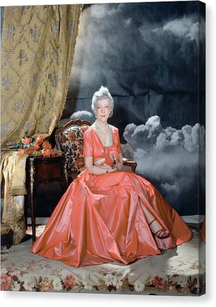 Lady Mendl Wearing An Orange Dress Canvas Print by Horst P. Horst