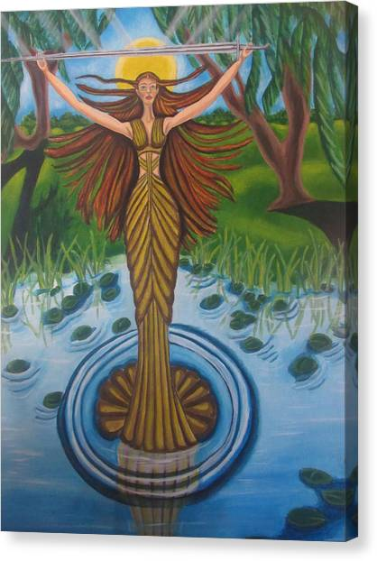 King Aurthur Canvas Print - Lady Of The Lake by Carmelita Lake