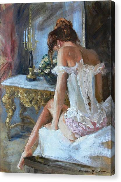 Lady On Bed Canvas Print