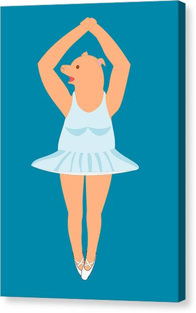 Lady Pig In A Tutu Canvas Print