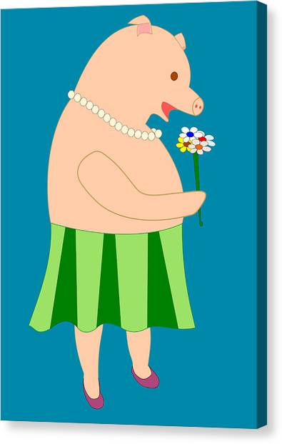 Lady Pig Smelling Flower Canvas Print