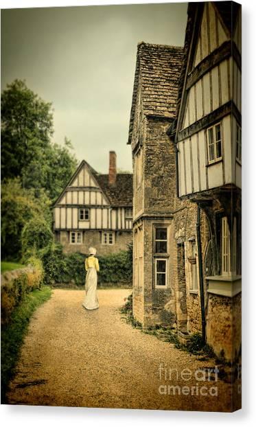 Charming Cottage Canvas Print - Lady Walking In The Village by Jill Battaglia