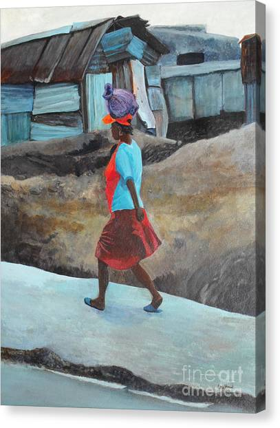 Lady Walking - Port -au- Prince Canvas Print