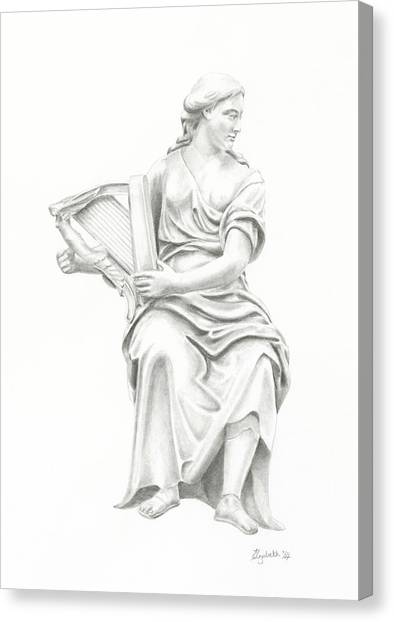 Lady With Harp II Canvas Print