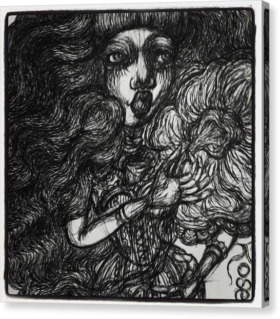 Gothic Art Canvas Print - Lady With Rose by Akiko Okabe