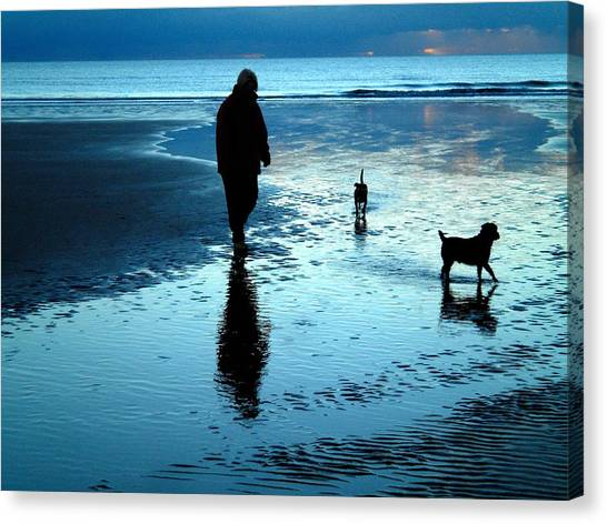 Lady With The Little Dogs Canvas Print