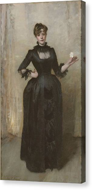 The Metropolitan Museum Of Art Canvas Print - Lady With The Rose - Charlotte Louise Burckhardt by John Singer Sargent