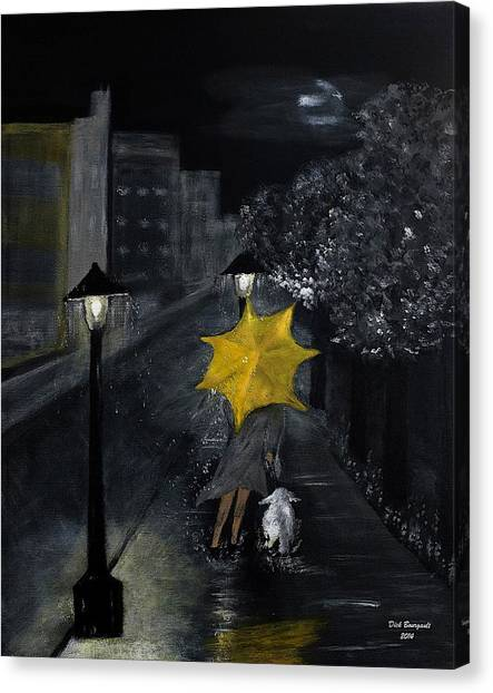 Lady With Yellow Umbrella And White Dog Canvas Print