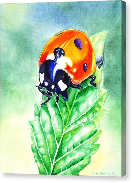 Ladybugs Canvas Print - Ladybug Ladybug Where Is Your Home by Irina Sztukowski
