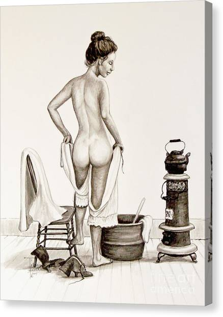 Lady's Bath 1890's Canvas Print