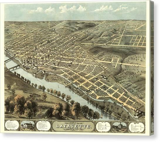 Purdue University Canvas Print - Lafayette Indiana 1868 Map by Stephen Stookey