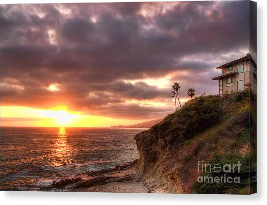 Palm Trees Sunsets Canvas Print - Laguna Beach Sunset by Eddie Yerkish