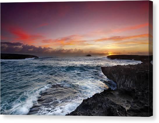 Ocean Sunrises Canvas Print - Laie Point Sunrise by Sean Davey