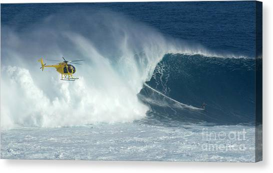 Laird Hamilton Going Left At Jaws Canvas Print