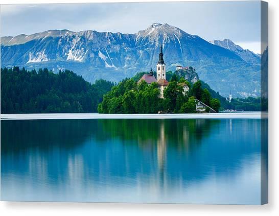 Lake Bled Island Church Canvas Print