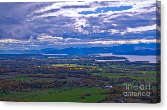 Lake Champlain From The Top Of Mount Philo. Canvas Print