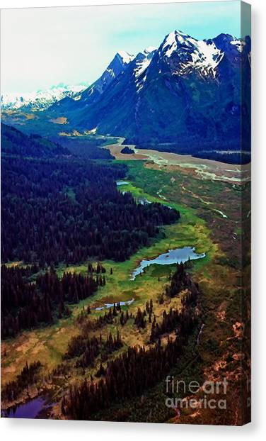 Aerial View Canvas Print - Lake Clark National Park by Thomas R Fletcher