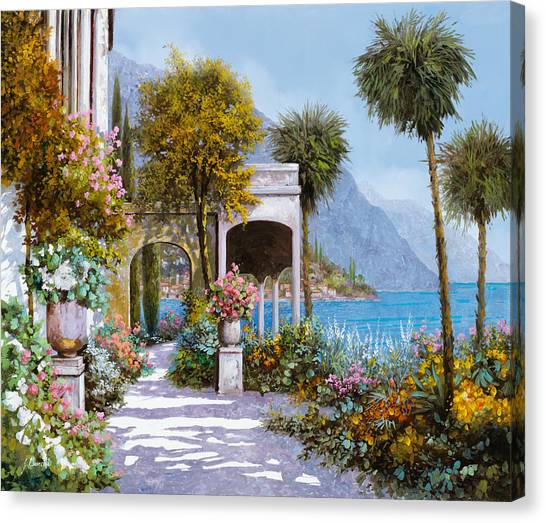 Lake Canvas Print - Lake Como-la Passeggiata Al Lago by Guido Borelli