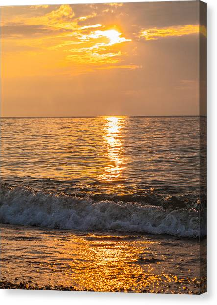 Canvas Print featuring the photograph Lake Erie Waves by David Coblitz