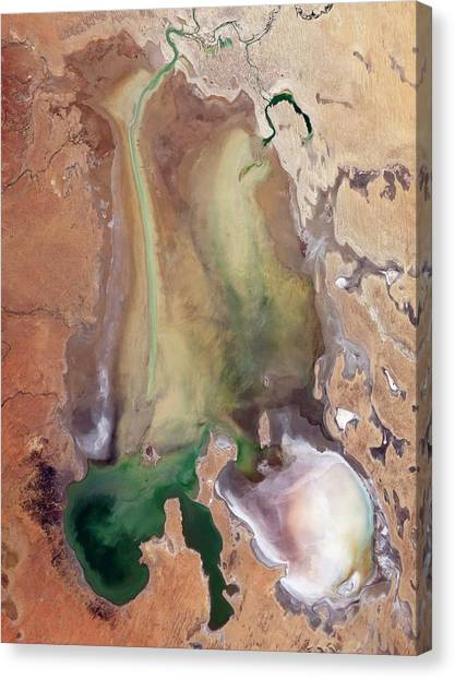 June Lake Canvas Print - Lake Eyre Wet Period by Nasa/usgs/science Photo Library