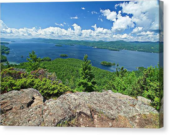 Lake George Shelving Rock Canvas Print