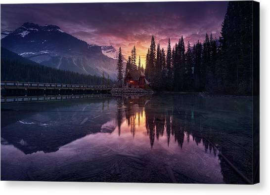 Fir Trees Canvas Print - Lake House Sunrise by Jes?s M. Garc?a