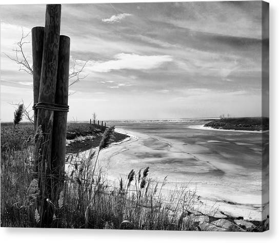 Early Spring Canvas Print - Lake Ice Bw by Peter Chilelli