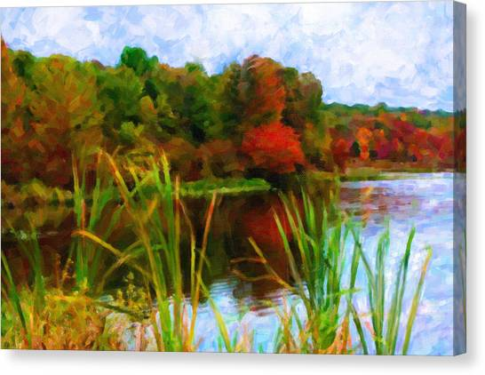 Lake In Early Fall Canvas Print